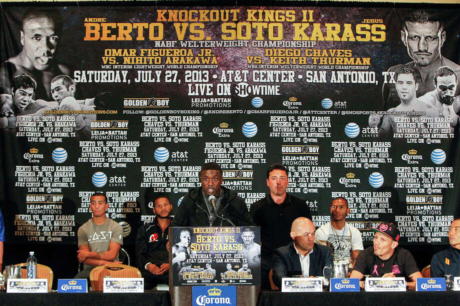 Two-Time Welterweight World Champion Andre Berto speaks during the final press conference for Knockout Kings II at the San Antonio Marriott Rivercenter on Thursday, July 25, 2013.  The main event, to be held at the AT&T Center on July 27, features  Berto (28-2) vs. Mexican contender Jesus Soto Karass (27-8-3) for the vancant NABF Welterweight title.  MARVIN PFEIFFER/ mpfeiffer@express-news.net Photo: MARVIN PFEIFFER, Marvin Pfeiffer/ Express-News / Express-News 2013