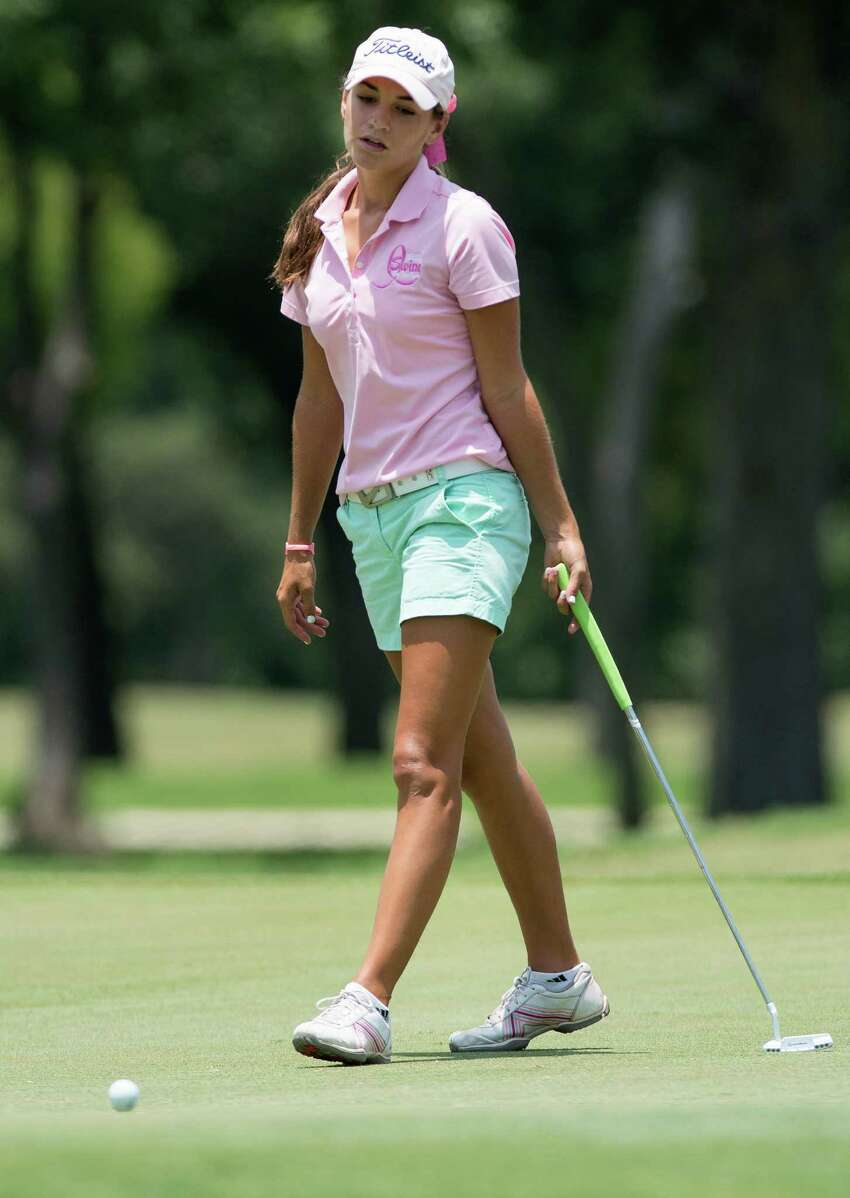 Megan Woods reacts to a missed putt during the GSA Junior Championship, Thursday, July 25, 2013, at Brackenridge Park Municipal Golf Course in San Antonio. (Darren Abate/For the Express-News)
