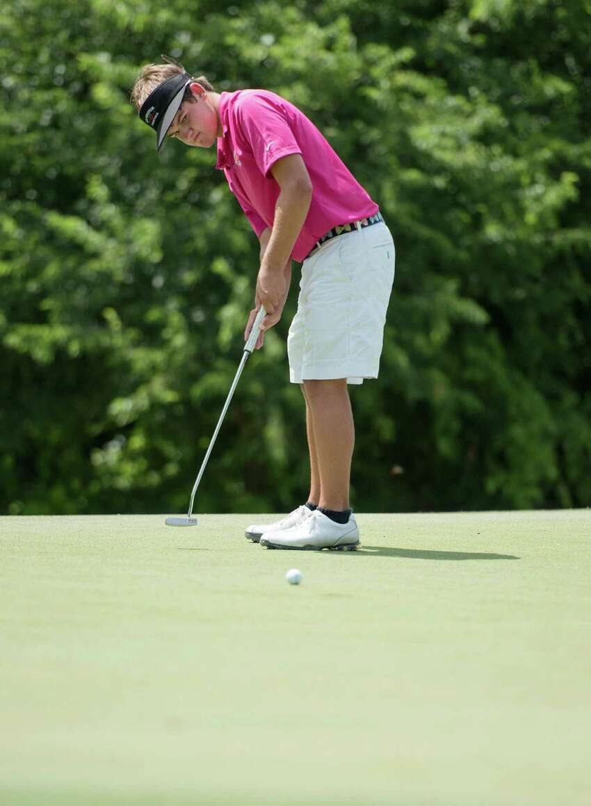 Mitchell Meissner putts during the GSA Junior Championship, Thursday, July 25, 2013, at Brackenridge Park Municipal Golf Course in San Antonio. (Darren Abate/For the Express-News)
