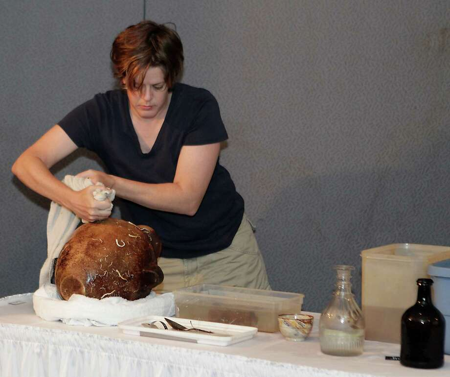 Texas Historical Commisson State Marine Archeologist Amy Borgens squeezes a wet towel onto a cantaro which was one of the artifacts excavated from the Monterrey Shipwreck which returned the artifacts to Galveston today from a shipwreck about 170 miles off Galveston, during a press conference at Moody Gardens Thursday, July 25, 2013, in Galveston. Photo: James Nielsen, Houston Chronicle / © 2013  Houston Chronicle