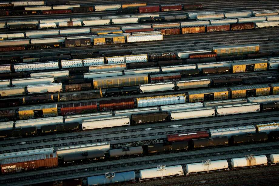 As seen from above, rail traffic can present a pleasant pattern, unlike its effect on Houston's daily commuters. Photo: Smiley N. Pool, Staff / © 2013  Houston Chronicle