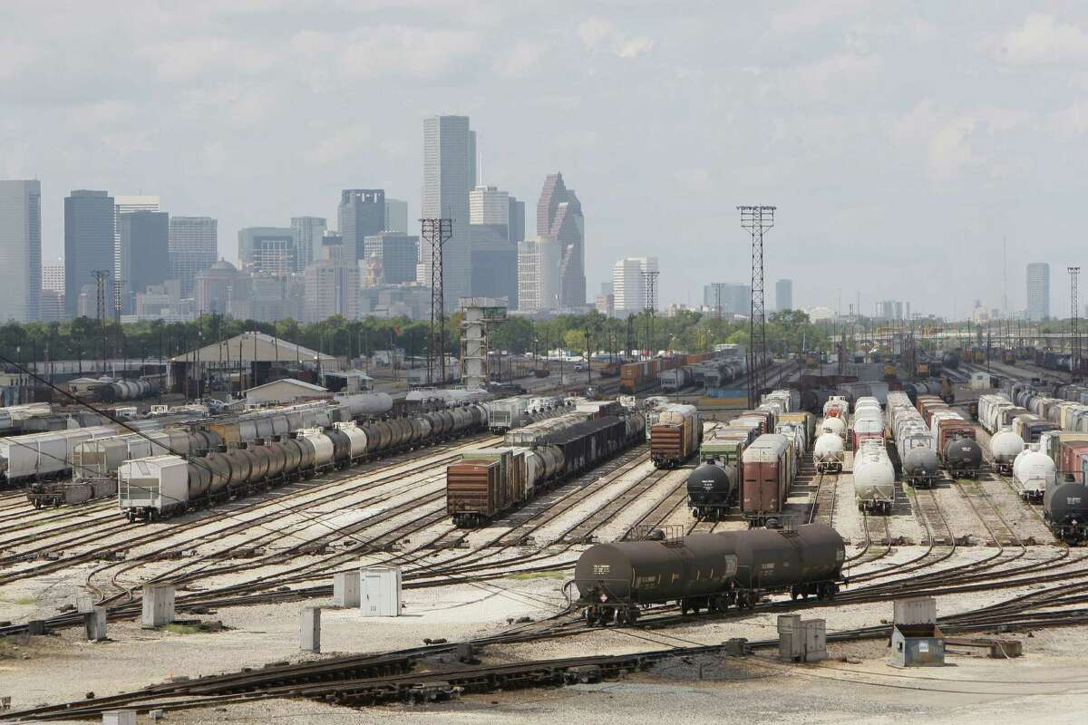 Even in this 2009 photo, the number of rail cars lined up for sorting at Union Pacific's Englewood hump yard, 7000 Liberty Road, indicates how many freight trains Houston-area commuters have to deal with daily.