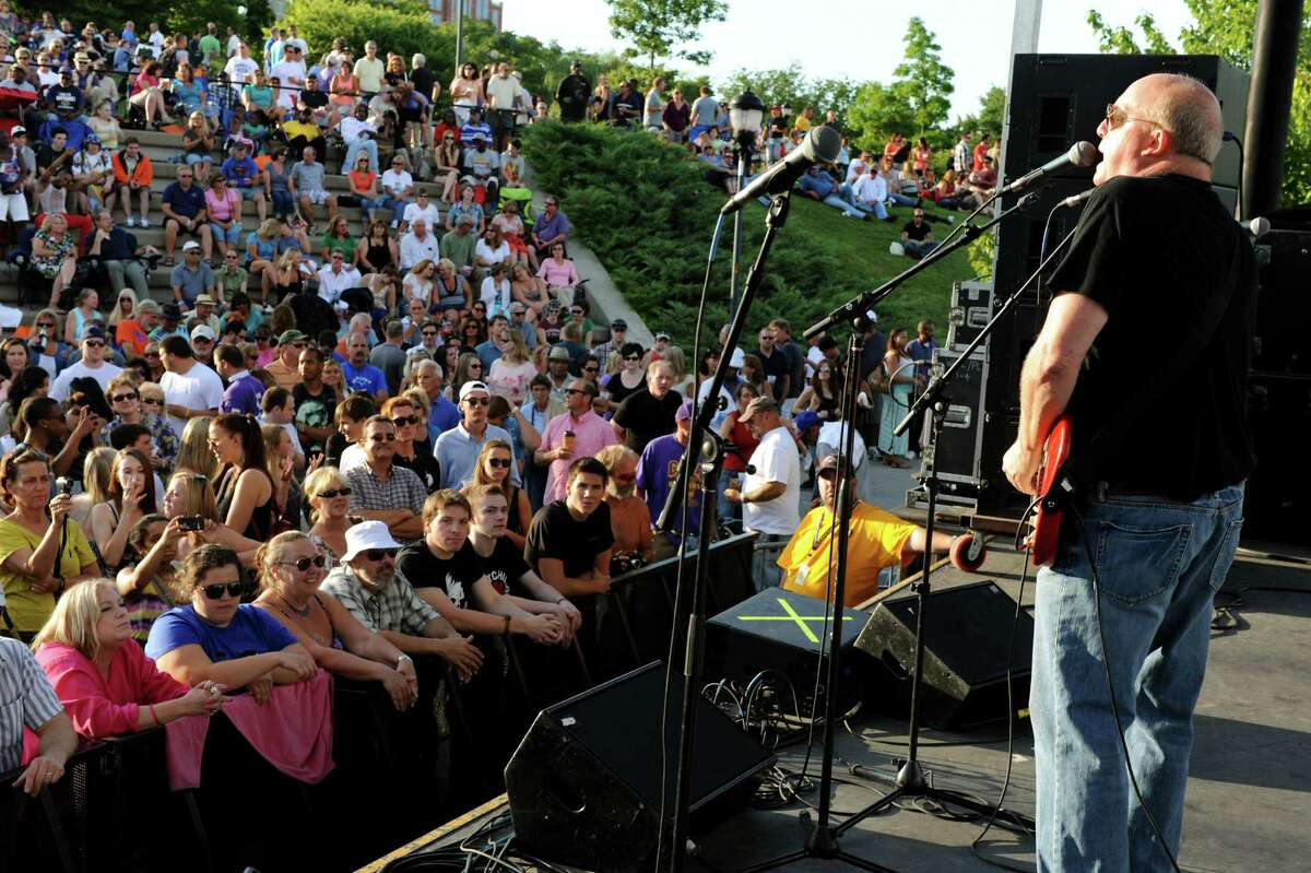 Band leader Tom Healey, right, performs with The Tom Healey Band during Alive at Five on Thursday, July 25, 2013, at Jennings Landing in Albany, N.Y. (Cindy Schultz / Times Union)