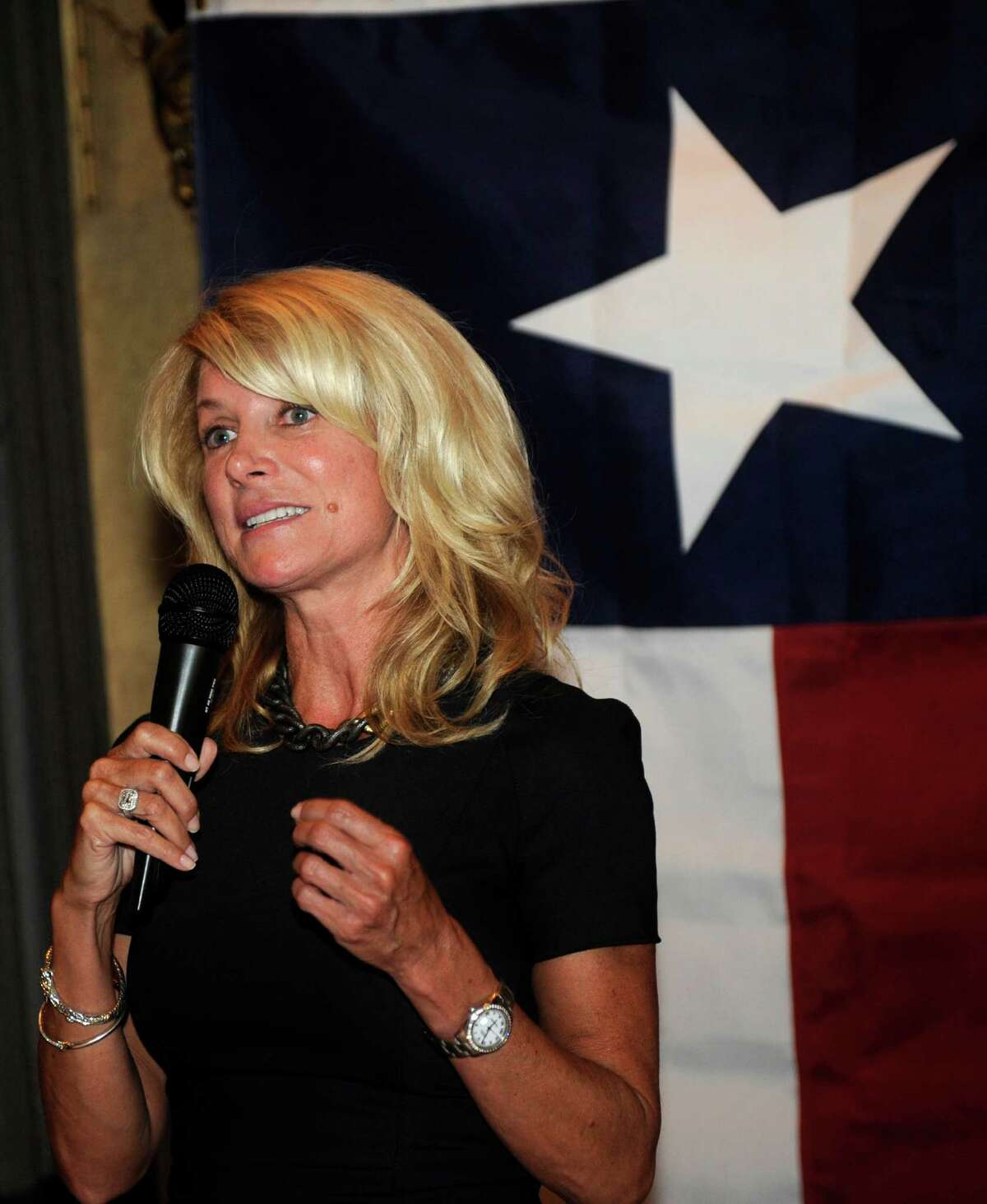 Texas State Senator Wendy Davis, famous for her 12-hour filibuster attempt against an anti-abortion rights bill, speaks at a fundraiser, Thursday, July 25, 2013, in Washington, D.C. (AP Photo/Nick Wass)