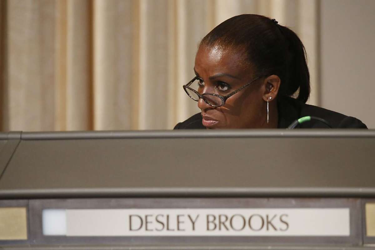 Councilwoman Desley Brooks speaks during a City Hall meeting for City Council members to vote on whether or not to censure Desley Brooks in Oakland, Calif. on July 25, 2013.