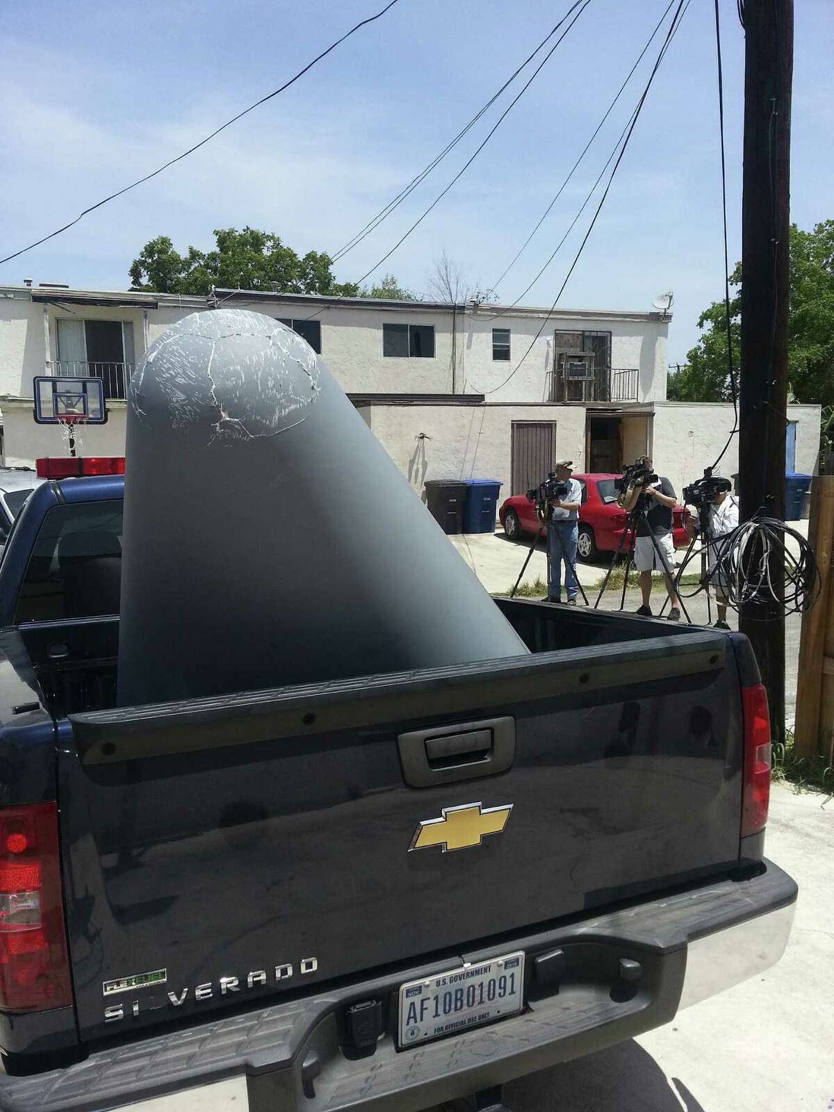 The plane piece sits in an Air Force pickup before being transported. The plane had taken off from Port San Antonio.