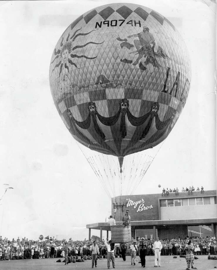 "When Meyerland Plaza opened in 1957, an attraction was a balloon from the movie ""Around the World in 80 Days."" Because the center was on 80 acres, the theme was ""Around the Shopping World in 80 Acres."" Photo: Bob Verlin, HP Staff / The Houston Chronicle"