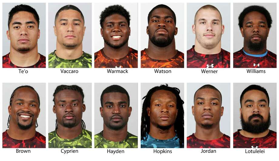In these handout photos released by the NFL and taken in February 2012, top NFL Draft prospects are shown at the NFL Scouting Combine in Indianapolis. They are, top row from left: Manti Te'o, Notre Dame; Kenny Vaccaro, Texas; Chance Warmack, Alabama; Menelik Watson, Florida State; Bjoern Werner, Florida State and Sylvester Williams, North Carolina. Bottom row from left are Arthur Brown, Kansas State; Jonathan Cyprien, Florida International; D.J. Hayden, Houston; DeAndre Hopkins, Clemson; Dion Jordan, Oregon and Star Lotulelei, Utah.  (AP Photo/NFL, Ben Liebenberg) MAGS OUT. NO SALES Photo: Ben Liebenberg, CTR / LIEBB