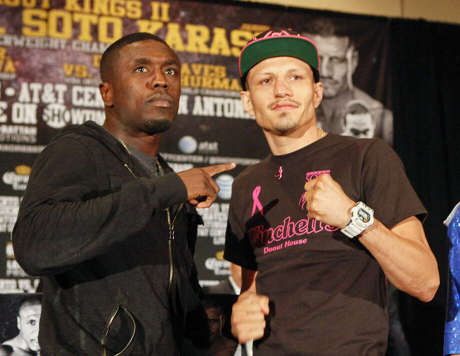 """Two-time welterweight world champion Andre Berto (left) and Jesus Soto Karass pose during the final news conference Thursday at the Marriott Rivercenter. Berto vs. Karass is the main event for """"Knockout Kings II"""" Saturday at the AT&T Center. Photo: Marvin Pfeiffer / San Antonio Express-News"""