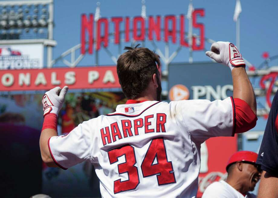 Bryce Harper was the man of the hour after delivering a two-run walk-off homer to lift the Nationals past the Pirates on Thursday. Photo: Evan Vucci, STF / AP