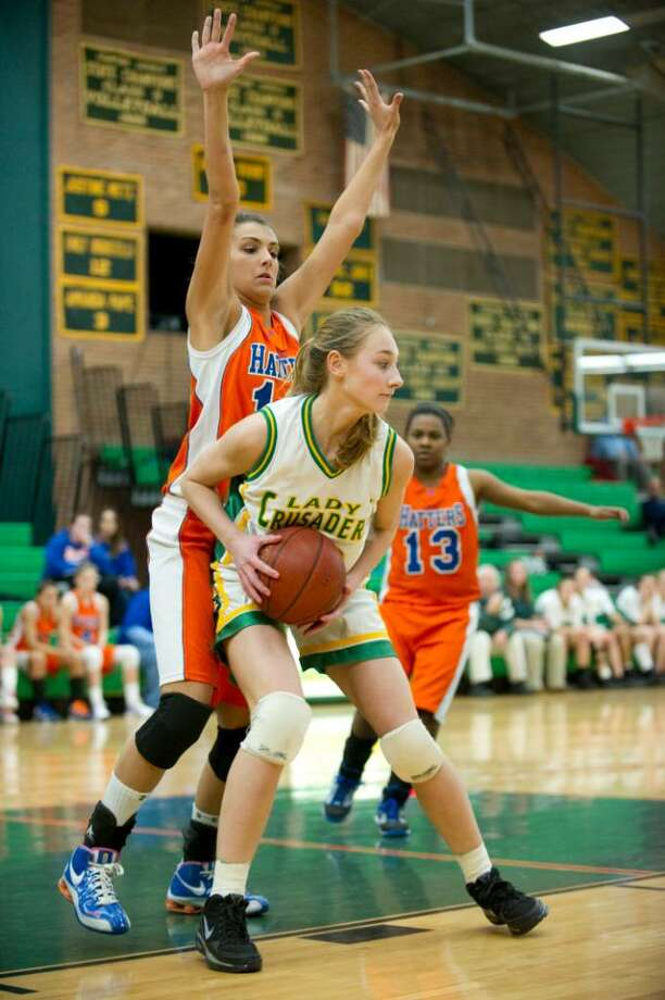 during an FCIAC girls basketball game at Trinity Catholic High School in Stamford, Conn. on Tuesday, Jan. 109, 2010. Photo: Chris Preovolos / Stamford Advocate