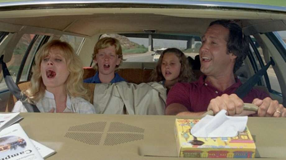 National Lampoon's Vacation: A  one-week road trip from Chicago to L.A. theme park Walley World doesn't go exactly as planned for the Griswold family (Chevy Chase, Beverly DiAngelo, Anthony Michael Hall and Dana Barron) in this 1983 comedy classic, which spawned several sequels.  But at least Chase's Clark Griswold gets to skinny-dip (albeit briefly) with Christie Brinkley as a glamorous stranger. Photo:  Warner Bros., 1983 / ONLINE_YES