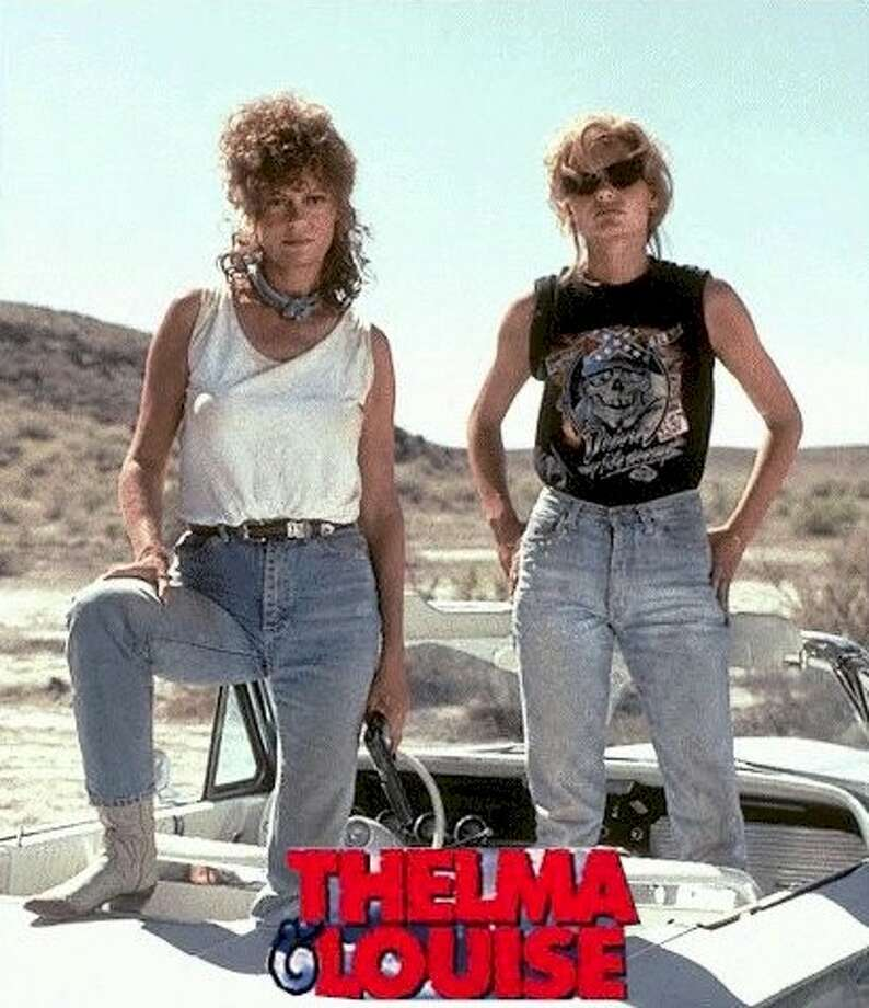 Thelma and Louise: The ending redefines cliffhanger, but who wouldn't want to tool around the country in a '66 Thunderbird with Geena Davis (right) and Susan Sarandon -- especially with Brad Pitt as a, well, Pitt stop? Photo: MGM , 1991