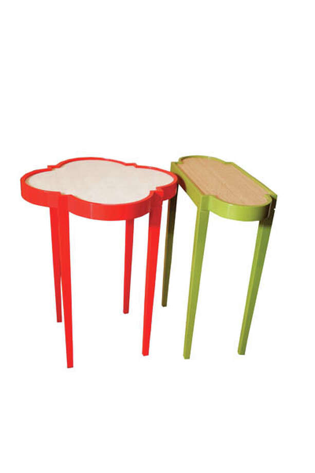 "Side TablesThese unique tables come in many different colors, shapes and textures. Playful! Contemporary! Red Tini Table iv (16""x 20""), $395; Green Oomph Tini Table ii (18"" x 8"" x 20""), $375.  Available at 23rd and Fourth."