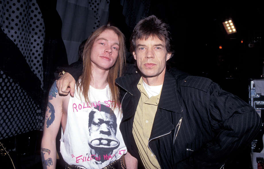 Axl Rose of Guns N' Roses and Mick Jagger of the Rolling Stones at the Trump Casino in Atlantic City, New Jersey. Photo: Kevin Mazur, WireImage / WireImage