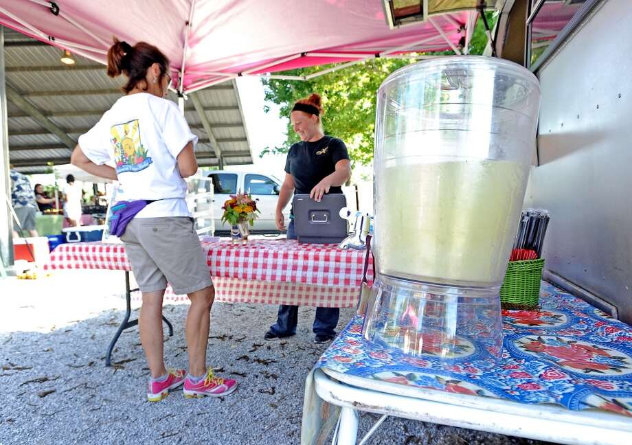 The Katherine & Company trailer brings breakfast item and drinks galore to the Beaumont Farmers Market.  Photo taken Saturday, July 6, 2013. Photo taken: Randy Edwards/The Enterprise