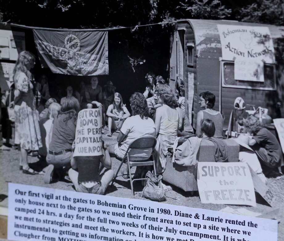 A photograph provided by Mary Moore showing the first gathering at the Bohemian Grove in 1980. Mary Moore, the longtime leader of the Bohemian Grove Action Network, is boycotting her own protests because another group run by a Tea Party advocate is horning in on her territory.  Moore plans to continue to attack the rich and powerful men using writings. Photo: The Chronicle