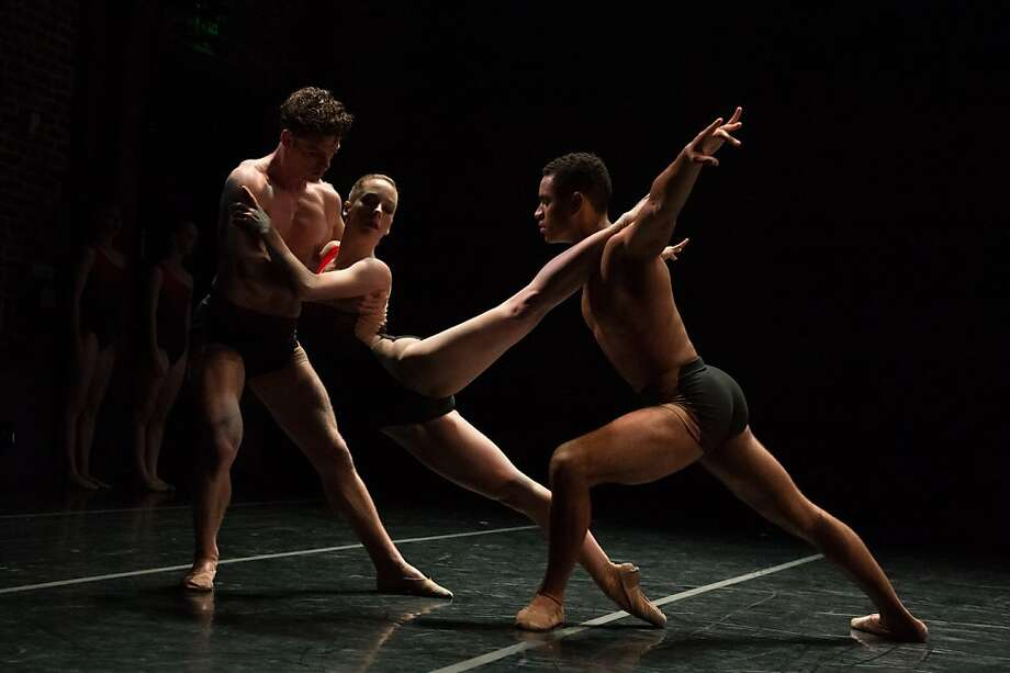 "Imagery dancers Weston Krukow (left), Annali Rose and James Gilmer perform choreographer Amy Seiwert's experimental ""The Devil Ties My Tongue,"" which visualizes a Leonard Cohen poem. Photo: David DeSilva"