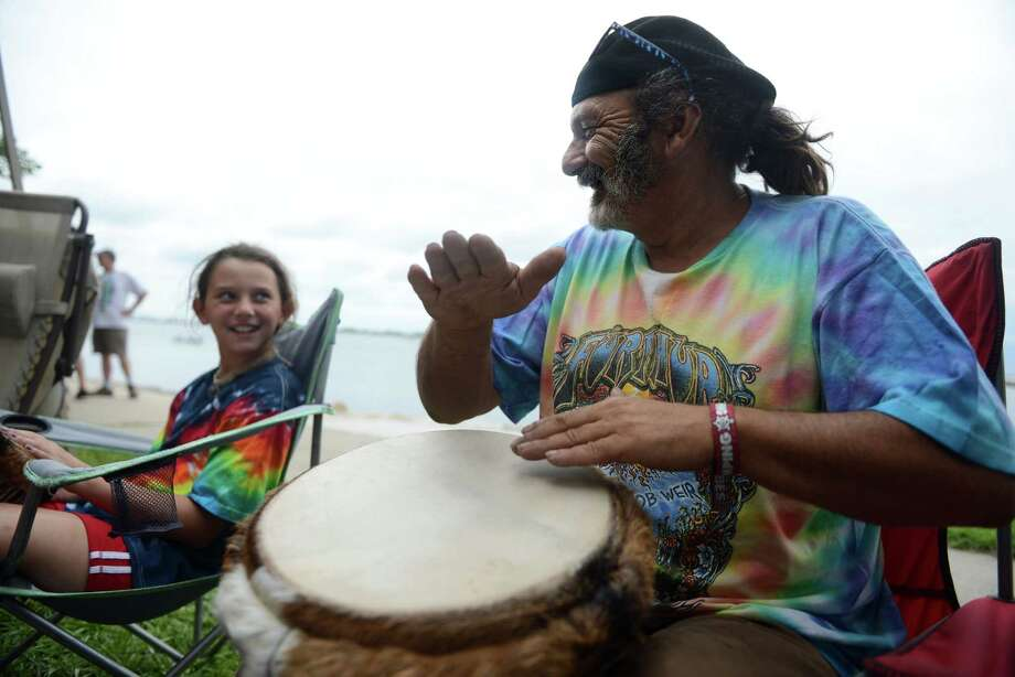Ten-year-old Sam Vidal, of Long Island, NY, and Kodi, of Woodstock, NY, jam during the 18th annual Gathering of the Vibes Musical Festival at Seaside Park in Bridgeport, Conn. Friday, July 26, 2013. Photo: Autumn Driscoll / Connecticut Post freelance