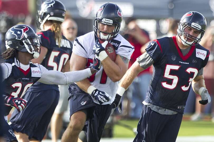 Tight end Owen Daniels (81) runs between safety D.J. Swearinger (36) and linebacker Mike Mohamed (53