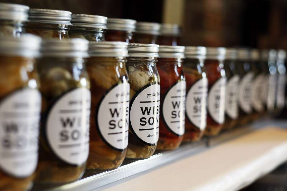 A row of pickled goods at the Wise Sons Deli in the Contemporary Jewish Museum. Photo: Rohan Smith, The Chronicle