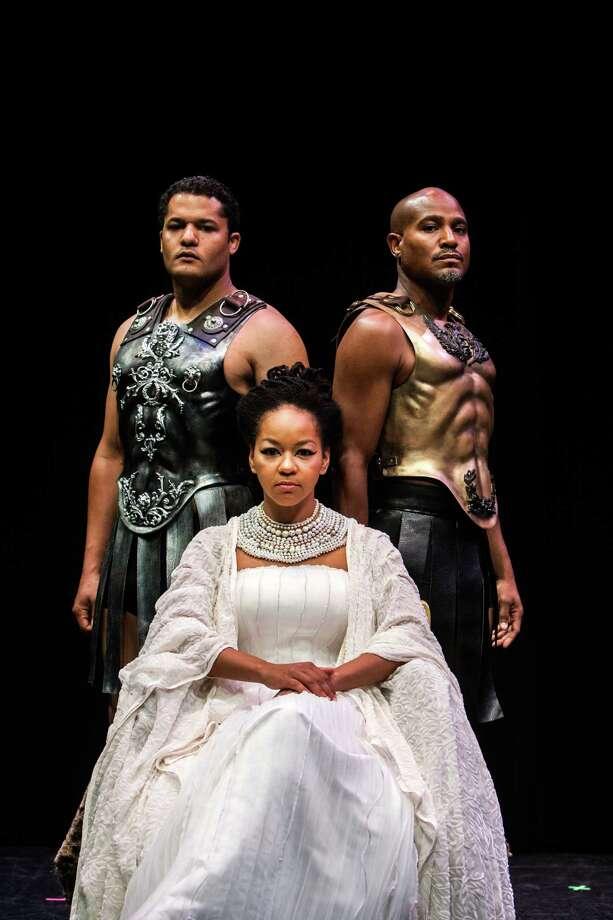 "Brandon Dirden, left, Crystal Dickinson and Seth Gilliam star in ""Antony and Cleopatra."" Photo: Michael Starghill, Jr., Photographer / © 2013 Michael Starghill, Jr."