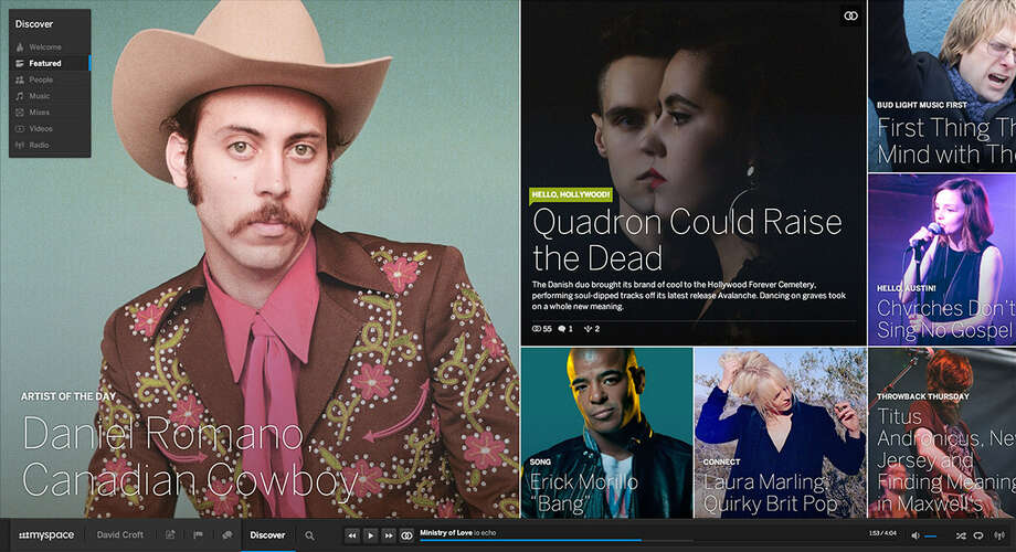 This screen shot shows the newly designed Myspace.com. The new site, which debuted in June, combines social networking with streaming music that is focused on the creative community. Photo: Associated Press / Myspace