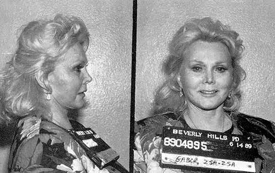 Actress and misdemeanant Zsa Zsa Gabor poses for a mug shot after being arrested for slapping a police officer on June 14, 1989 in Beverly Hills, California. Photo: Michael Ochs Archives, Getty Images / Michael Ochs Archives