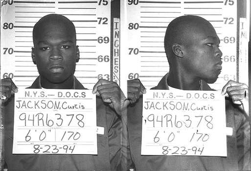 50 Cent (Curtis Jackson) has his mug shot taken while serving time in a New York State Department of Correctional Services shock incarceration program on August 23 1994 in New York City. Photo: Michael Ochs Archives, Getty Images / Michael Ochs Archives