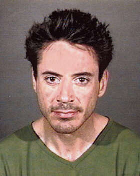 A mug shot of actor Robert Downey, Jr. is taken on April 24, 2001 in Culver City, CA. The actor was arrested by officers of the Culver City Police Department for being under the influence of a controlled substance. Photo: Getty Images / Getty Images North America
