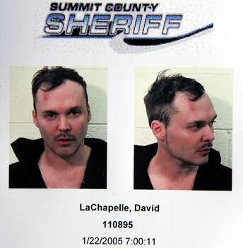 "A mug shot is seen of photographer David LaChapelle after he was arrested leaving the after party for his documentary film ""Rize"" during the 2005 Sundance Film Festival on January 22, 2005 in Park City, Utah. Photo: Frazer Harrison, Getty Images / 2005 Getty Images"