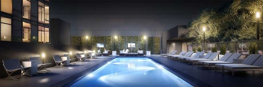 Urban terrace with pool, fire pit, outdoor TV's, heaters and lounging areas. Photo: 2013 DBOX