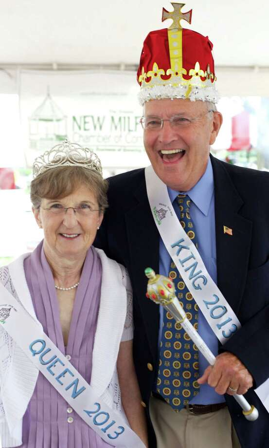 Mary and Pat Maguire are happy folks indeed as they begin their two-day reign as King and Queen of the Greater New Milford Chamber of Commerce's 46th annual Village Fair Days. July 26, 2013 Photo: Trish Haldin
