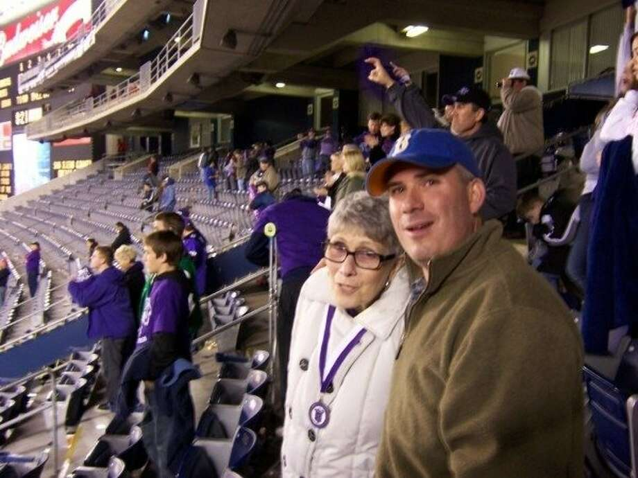Eric Branch with his mom, Anne Glasscock Branch, at the 2008 Poinsettia Bowl. Photo: Courtesy, Eric Branch