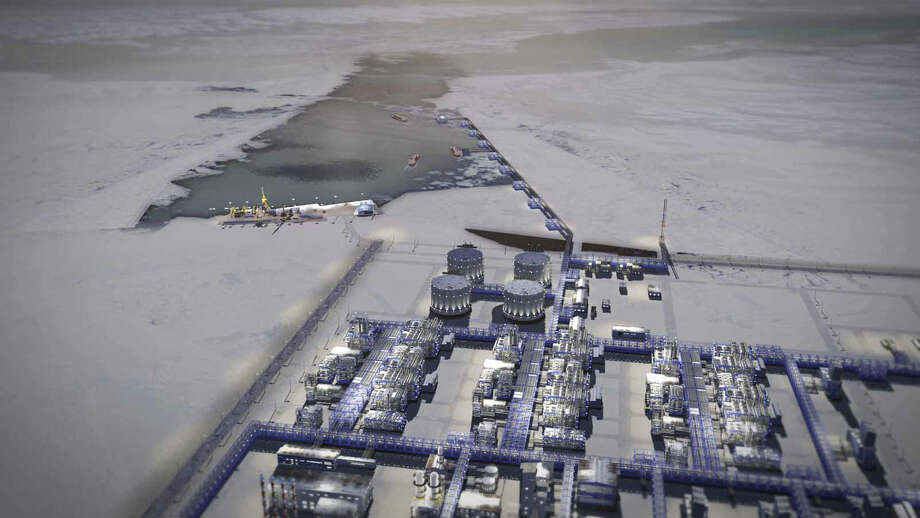 Novatek's proposed $20 billion liquefied natural gas plant on Russia's arctic coast is to be finished by 2016. Global warming, or thawing of ice, has opened the Northeast Passage to commercial shipping, and that means higher profits for energy companies. Photo: Novatek / New York Times