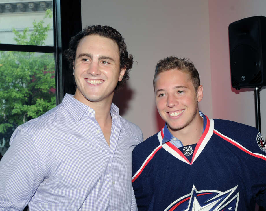 Greenwich native Cam Atkinson, right, of the NHL's Columbus Blue Jackets, with Kevin Shattenkirk of the St. Louis Blues, during Atkinson's benefit, the Cam Atkinson Keep Hope Alive Festival to benefit the Marty Lyons Foundation at Old Town Hall in Stamford, Friday night, July 26, 2013. The Marty Lyons FoundationâÄôs mission is granting wishes to children with terminally ill and life threatening illnesses. Photo: Bob Luckey / Greenwich Time