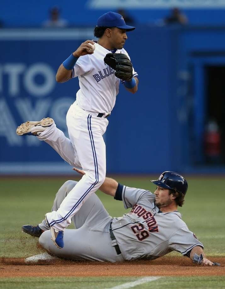 Maicer Izturis of the Blue Jays gets the out at second base during as Brett Wallace of the Astros slides. Photo: Tom Szczerbowski, Getty Images