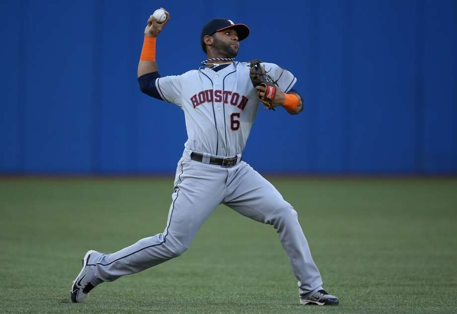 Astros shortstop Jonathan Villar makes a throw in the infield. Photo: Tom Szczerbowski, Getty Images