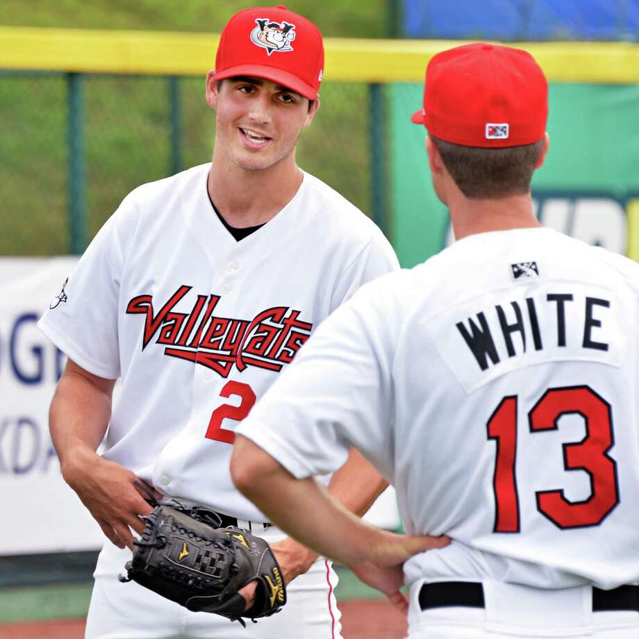 Tri-City ValleyCats starting pitcher Mark Appel, left, and pitching coach Doug White before the start of Tuesday's game against Aberdeen at Bruno Stadium Tuesday July 9, 3013, in Troy, N.Y.  (John Carl D'Annibale / Times Union) Photo: John Carl D'Annibale / 00023064A