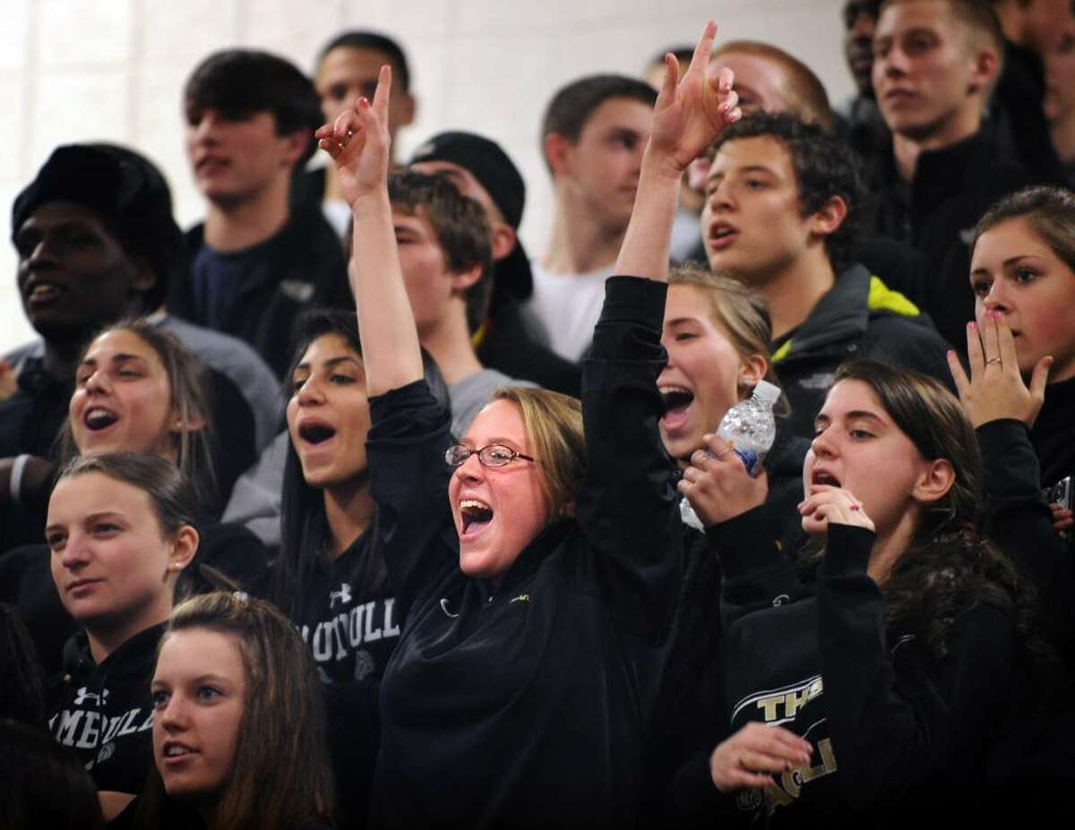 Trumbull fans cheer during Tuesday night's game against St. Joseph.