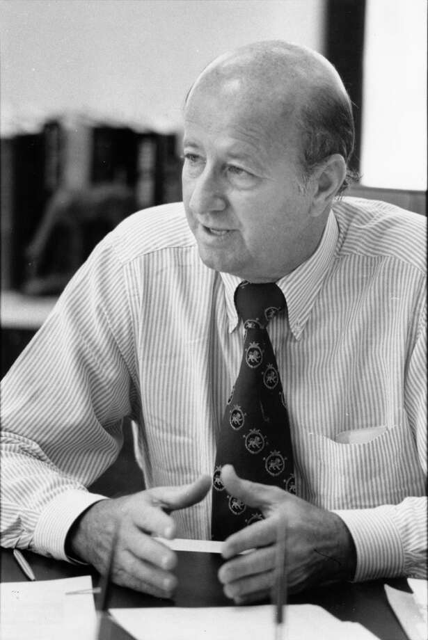 Oil man and real estate developer George P. Mitchell in his office in November 1979. Photo: Buster Dean, Houston Chronicle