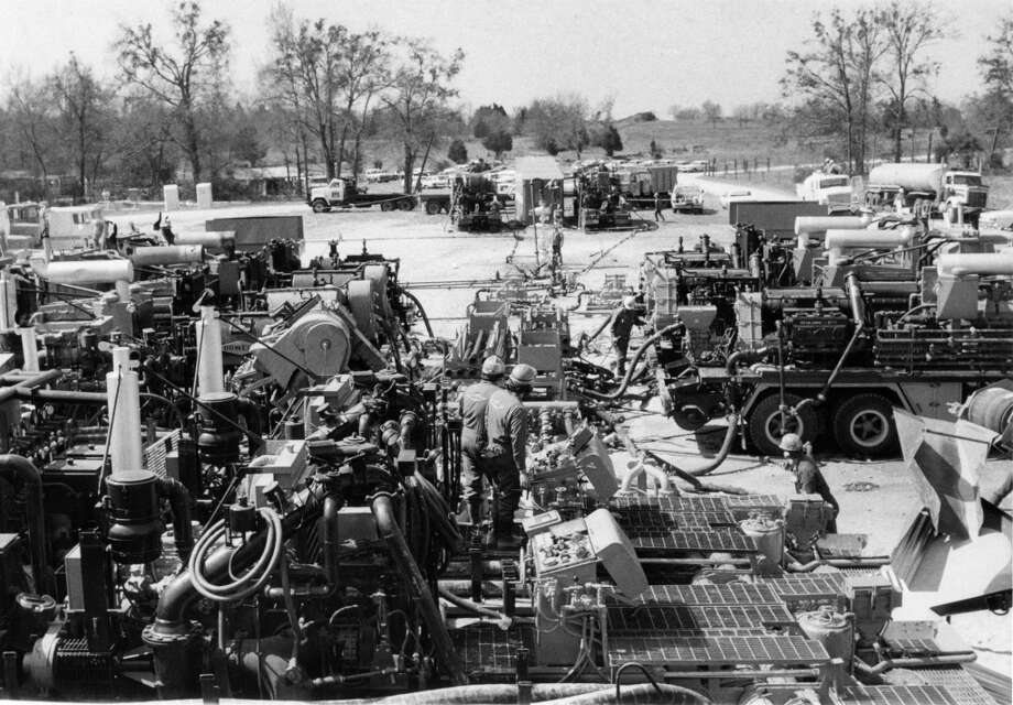 "Mitchell Energy & Development Corp. had $13 million worth of equipment on hand for a massive foam ""frac"" job at its Limestone County well in March 1980."