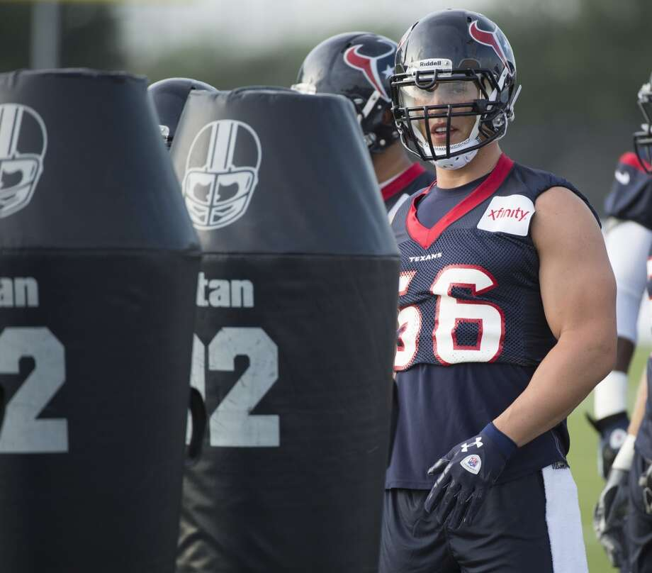 Linebacker Brian Cushing of the Houston Texans runs a drill on the opening day of training camp on Friday, July 26, 2013, in Houston, Texas. Cushing missed most of last season with an injury. Photo: George Bridges, McClatchy-Tribune News Service