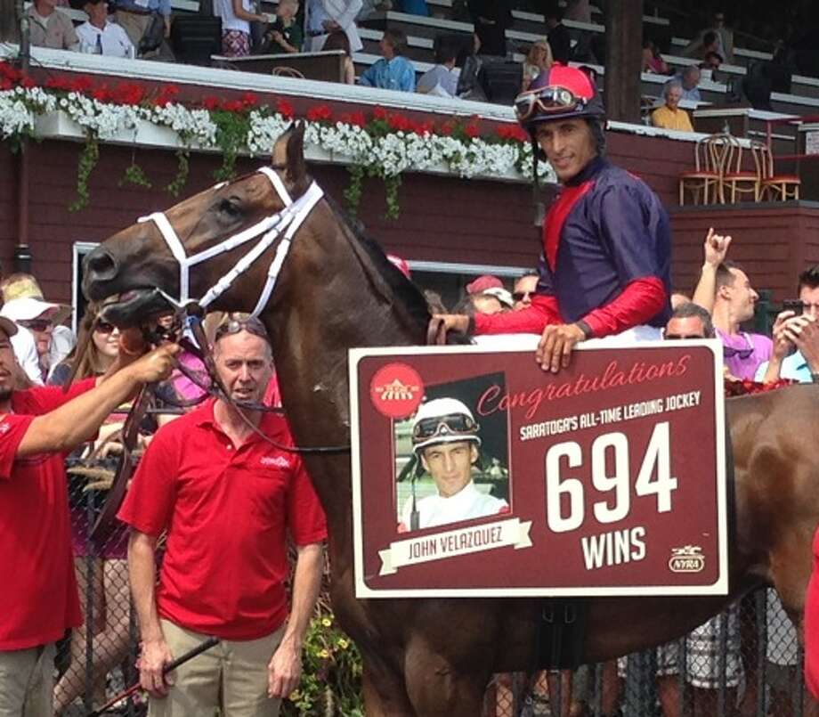 John Velazquez, riding Unitarian, becomes the winningest jockey in Saratoga Race Course history Saturday, as he took the fourth race. (Skip Dickstein/Times Union)
