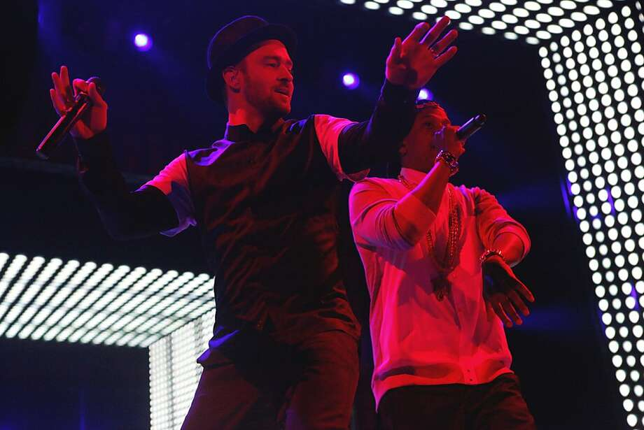 "Justin Timberlake (left) and Jay Z perform ""Rock Your Body"" as the Legends of the Summer play Candlestick, surprisingly. Photo: Katie Meek, The Chronicle"
