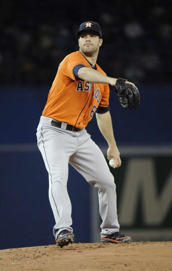 Dallas Keuchel of the Astros delivers a pitch to the Blue Jays. Photo: Jon Blacker, Associated Press/Canadian Press