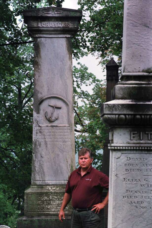 Stefan Bielinski stands at the Samuel Schuyler monument in Albany Rural Cemetery in 1998. The retired social historian vows to remain active.(Paul Buckowski/Times Union) Photo: PAUL BUCKOWSKI / ALBANY TIMES UNION
