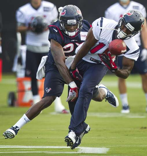 A pass intended for Texans receiver Lestar Jean is broken up during day two of camp.