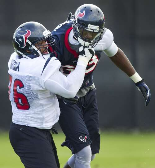 Texans offensive lineman Duane Brown battles against linebacker Willie Jefferson.