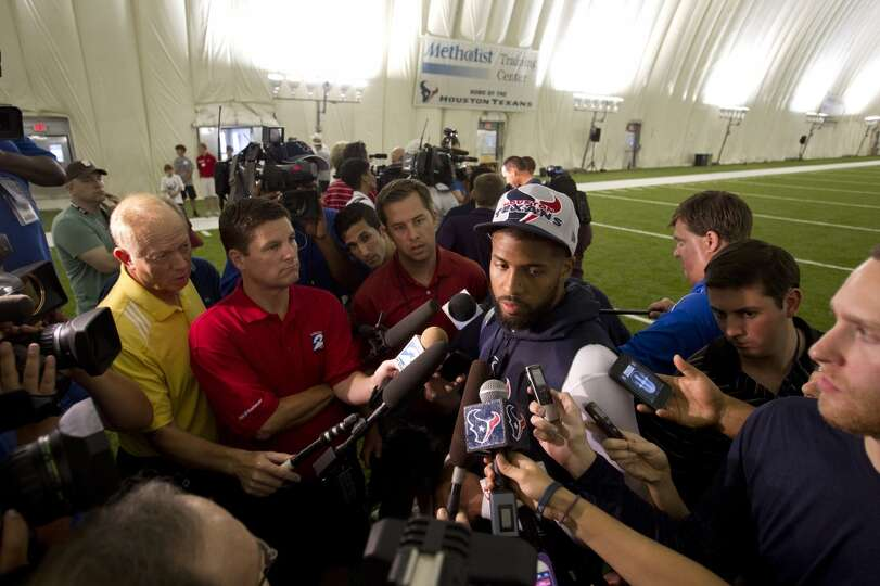 Texans running back Arian Foster speaks with the media.